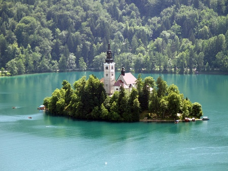 Church of Bled on an island photo