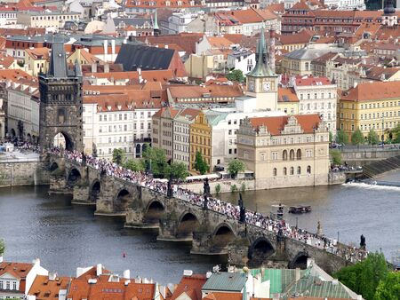 Charles bridge of Prague from above photo