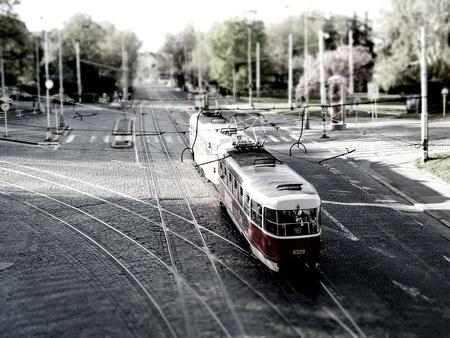 tilt: Tram in Prague  tilt shift  Editorial