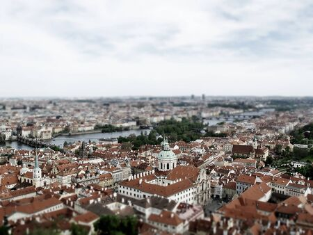 City of Prague from above  made with tilt shift technology  Stock Photo - 13784497