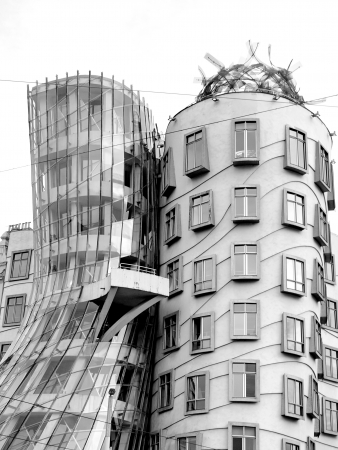 PRAGUE - APRIL 29  The Dancing House in the center of Prague  Seen during gloomy, winter day  The building was designed by Vlado Milunic and Frank Gehry  Built in 1996  Prague, April 29, 2012  Stock Photo - 14542097