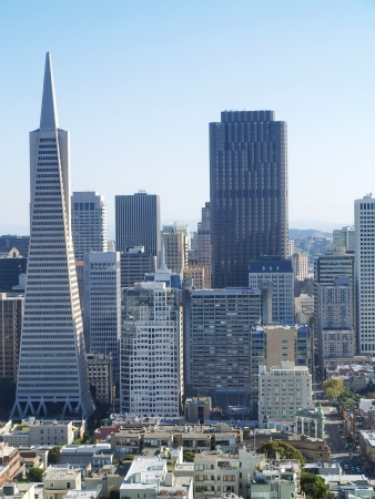 SAN FRANCISCO - OCTOBER 01  Transamerica bank building on October 01, 2011 in San Francisco, USA  The building was built on a special base platform that allows it to reduce shaking from earthquakes  Editorial