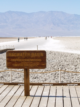 valley below: Badwater Basin  in Death Valley National Park noted as the lowest point in North America, with an elevation of 282 ft  86 m  below sea level