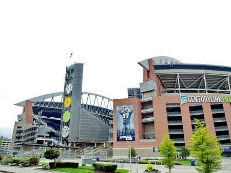 SEATTLE - OCTOBER 06  Century Link Field stadium  Home of Seattle Seahawks and Seattle Sounders on October 06, 2011 in Seattle, Washington  新闻类图片