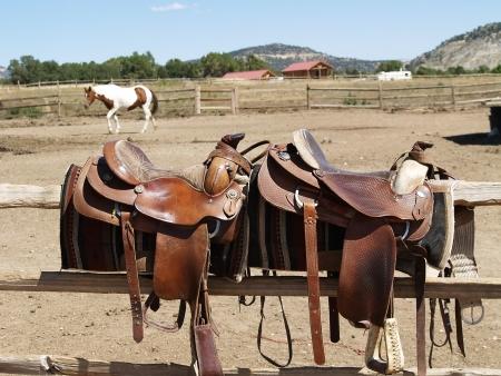 Sillas de montar con un caballo en el fondo photo