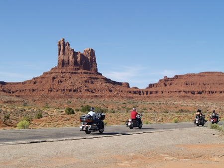 MONUMENT VALLEY, USA - SEPTEMBER 22  Road of Monument Valey on  Sepetmeber 22, 2011  The largest sandstone buttes reaching 1,000 ft  300 m  above the valley floor