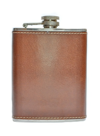 hip flask: Brown hip flask isolated on white Stock Photo