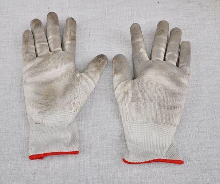 gardening gloves: Dirty gardening gloves Stock Photo