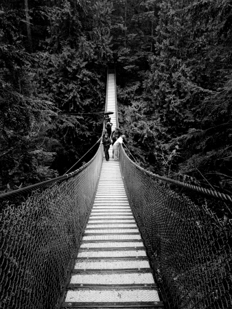 People on a very long suspension bridge