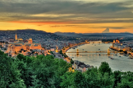 Panoramic view of Budapest at dusk photo