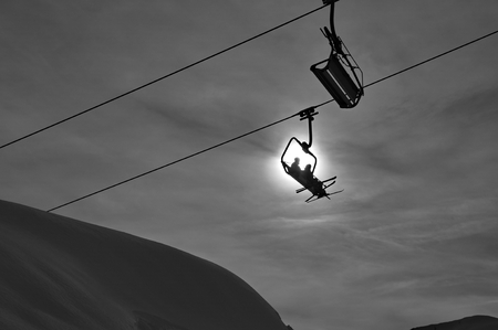 Ski lift silhouette photo