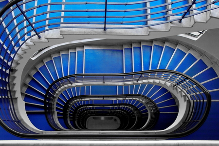 Blue staircase Stock Photo