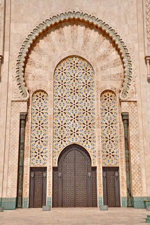Gates of the The Hassan II Mosque, located in Casablanca is the largest mosque in Morocco and the third largest mosque in the world photo