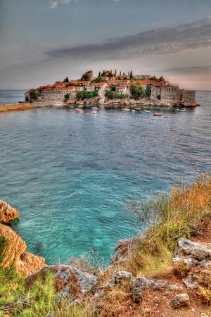 sveti: Old town of Sveti Stefan in Montenegro Stock Photo