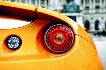 Back of an orange sports car