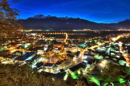 nightscene: Nightscene of Vaduz in Liechtenstein at night