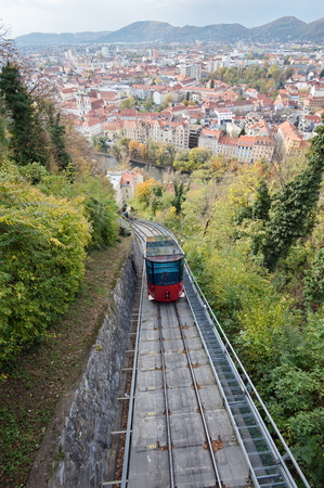 climbing cable: Red funicular in Graz, Austria Stock Photo