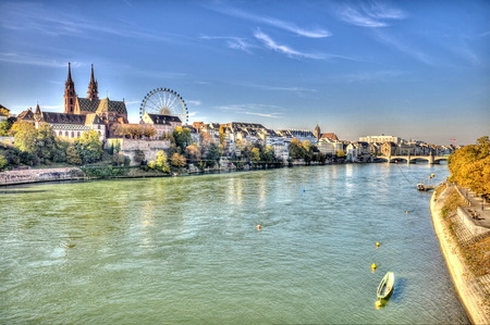 river banks: City of Basel in Switzerland