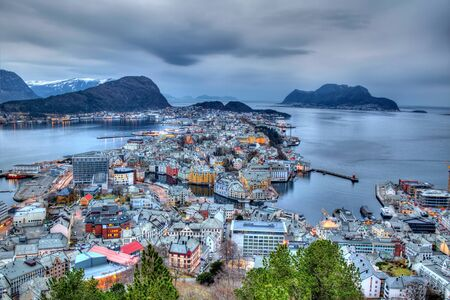 alesund: City of Alesund in Norway