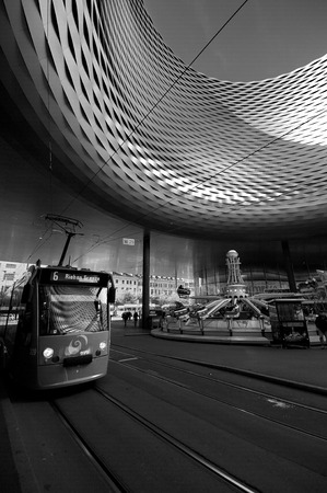 messe: BASEL, SWITZERLAND - NOVEMBER 01 2014: Exhibition Center in the Old Town of Basel in Switzerland