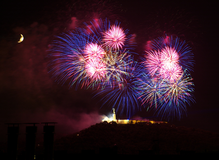 Fireworks over Liberty statue in Budapest, Hungary 免版税图像 - 44307321