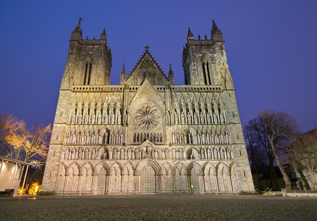Nidarosi cathedral in the center of Trondheim, Norway Stock Photo