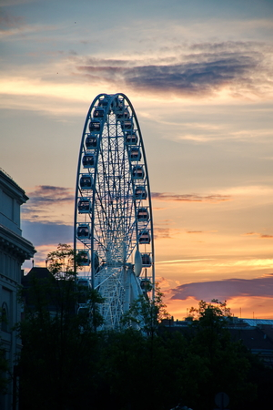 ferriswheel: BUDAPEST, HUNGARY - DECEMBER 19 : Budapest Eye at December 10, 2014 in Budapest, Hungary. Budapest Eye is the new attraction of the city. Editorial