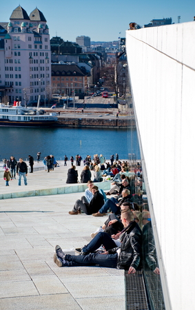 hanging around: OSLO - MARCH 21: People hanging around in Opera house in Oslo