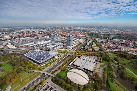 tent city: Munich Olympiapark from the TV tover Stock Photo