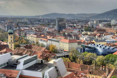 triplet: City of Graz in Austria from above