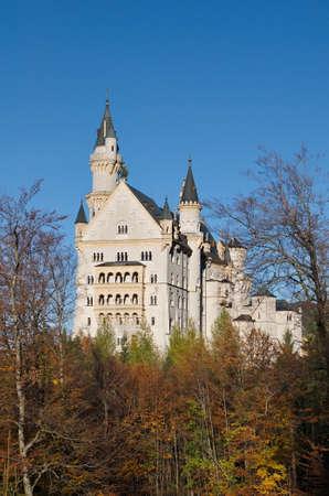 neuschwanstein: Castle of Neuschwanstein near Munich in Germany on an autumn day