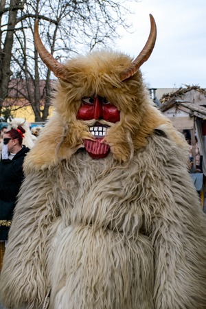 MOHACS, HUNGARY - FEBRUARY 07: Unidentified people in mask at the Mohacsi Busojaras. It is an annual festival to welcome the spring . February 07, 2016 in Mohacs, Hungary.