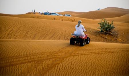 Desert safari in Dubai, United Arab Emirates. Dune bashing by a 4x4 car is a very popular activity. Stock fotó