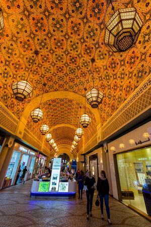 country store: DUBAI, UAE-FEBRUARY 01: Interior of Ibn Battuta Mall store on February 01, 2016. Each salesroom is decorated in the style of different country.