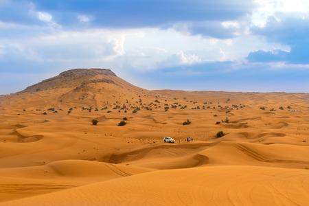 the jeep: Desert safari in Dubai, United Arab Emirates Stock Photo