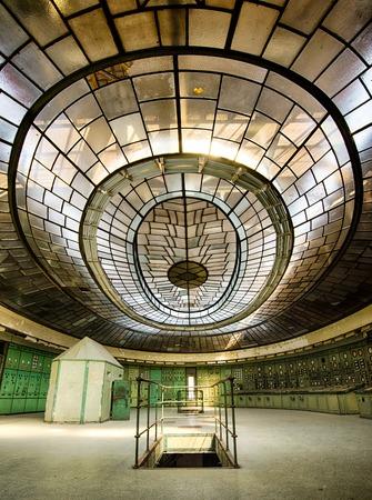 BUDAPEST, HUNGARY - SEPTEMBER 11, 2016: Control room of an abandoned power plant on September 11 2016, in Budapest