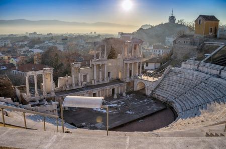 Plovdiv, 불가리아의 오래 된 극장 파 멸