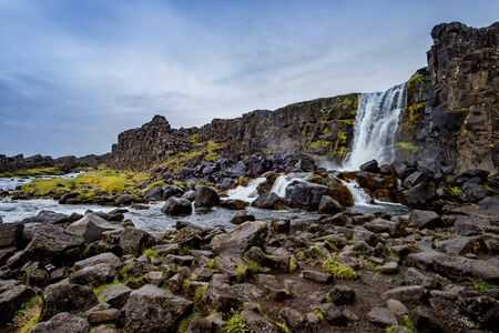 Oxarafoss in Thingvellir National Park in Iceland Stock Photo