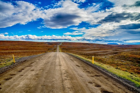Endless road in Iceland Stock Photo