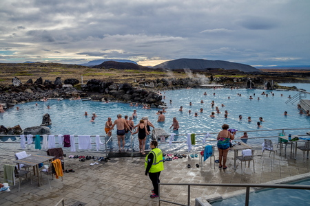 MYVATN LAKE - 20 SEPETMBER: Tourist in Myvatn geothermal lake which is a popular place in Iceland on 20 September, 2016