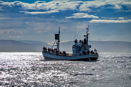 Whale watching boat in Husavik, Iceland