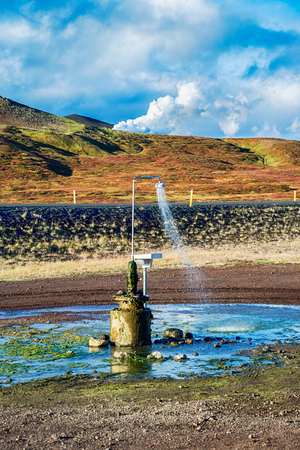 Outdoor shower works all year with geothermal water in Iceland