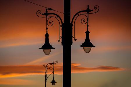 Street light at sunset Stock Photo