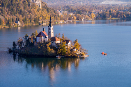 Lake Bled and the church in Slovenia