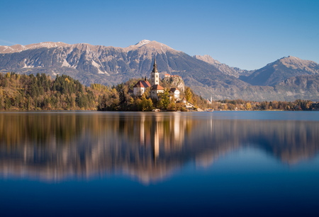 Island with a church in Bled