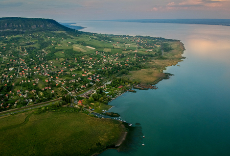 Aerial view of Badacsony hill at lake Balaton, Hungary
