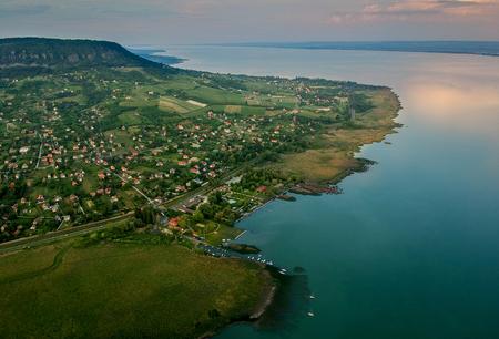 Aerial view of Badacsony hill at lake Balaton, Hungary 写真素材 - 106806063