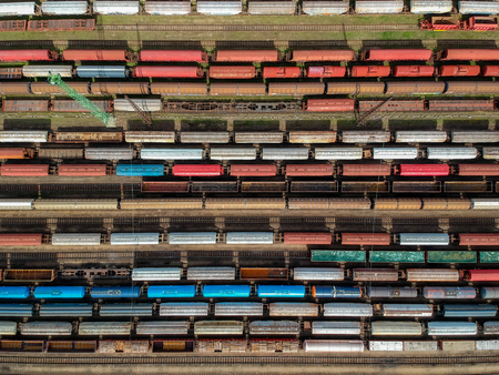 Aerial view of colorful trains on a station Stock Photo