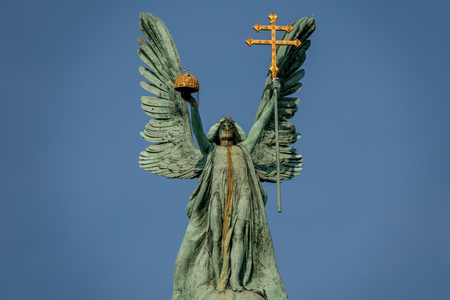 Scuplture of Gabriel archangel in Budapest, Heroes Square