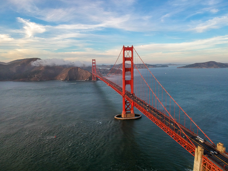 Aerial view of Golden Gate bridge in San Francisco